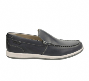 Clarks Mens Fallston Step Navy Leather Shoes